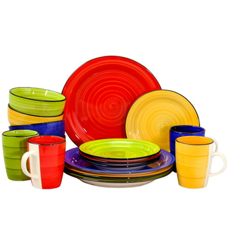 Gibson Home Color Vibes 16 Piece Round Dinnerware Set, Assorted Colors ()