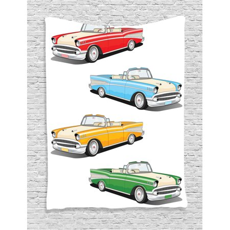 Manly Decor Wall Hanging Tapestry, Collection Of Four Classic Car Roadsters Old Fashioned Transportation Illustration, Bedroom Living Room Dorm Accessories, By Ambesonne