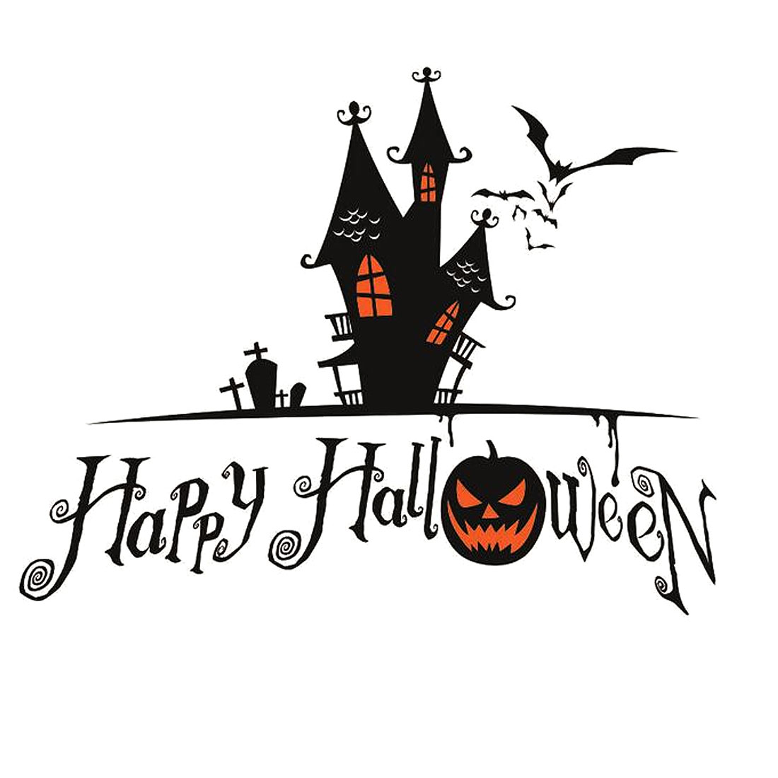 Halloween Decoration Self Adhesive Removable Wall Sticker Tricolor 60 x 44cm