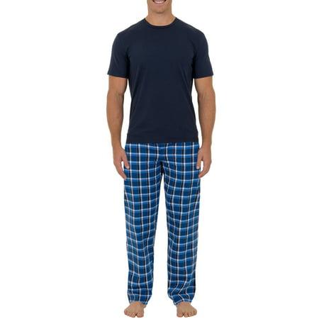 Print Sleep Tee (Fruit of the Loom Men's Microsanded Woven Sleep Pant with Jersey Top 2 piece)