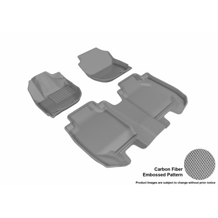 3D MAXpider 2016-2018 Honda HR-V Front & Second Row Set All Weather Floor Liners in Gray with Carbon Fiber Look ()