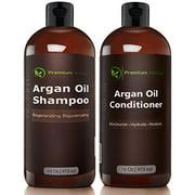 Organic Argan Oil Shampoo 16 oz and Argan Oil Conditioner 16 oz, Sulfate Free, Hair Repair Combo Set of 2 by Premium Nature