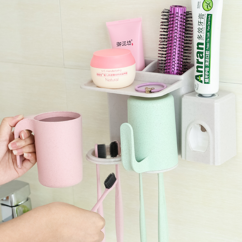 Automatic Toothpaste Dispenser Toothbrush Holder Super Sticky Suction Pad Wall Mounted Natural Wheat Straw Anti-dust With Gargle Cups Hands Free Toothpaste Squeezer Set for Family