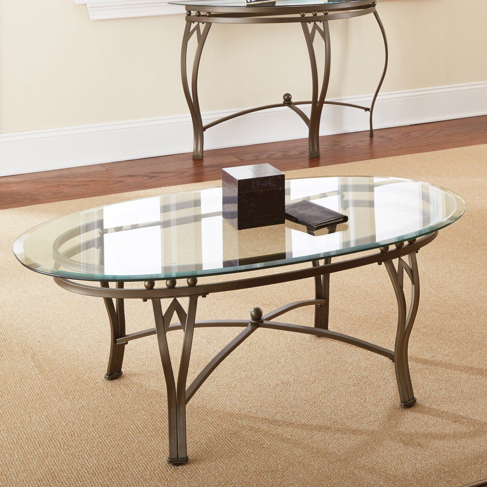 Steve Silver Madrid Oval Glass Top Coffee Table Walmart