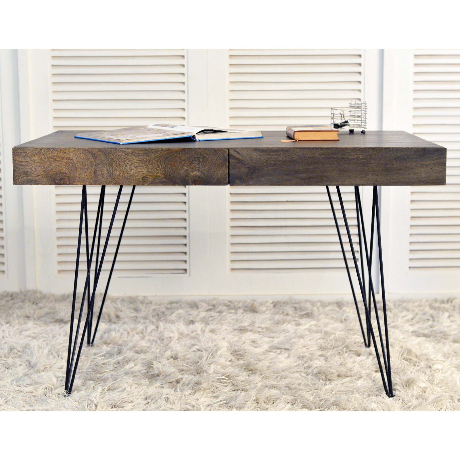 Coast to Coast Mid-Century 2 Drawer Writing Desk - Smokey Gray
