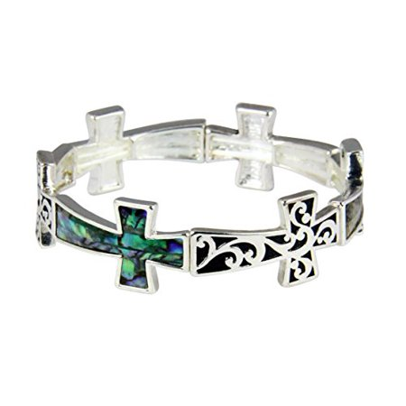 Repeating Cross Stretch Bracelet Abalone Christian Gift Present