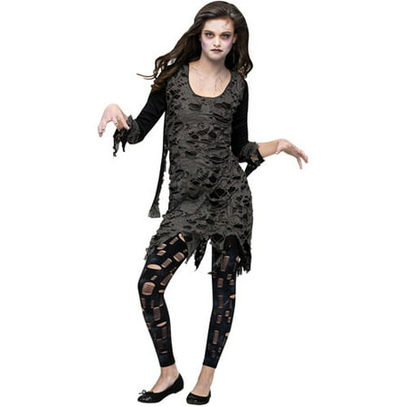 Halloween Town Girl Dead (Living Dead Walking Zombie Teen Halloween Costume, Size: Girls' - One)