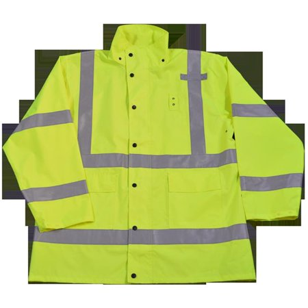 Waterproof Lining (Petra Roc LRJK-C3-2X Rain Parka Jacket Waterproof Ansi-Isea Class Iii Lime No Lining with Detachable Hood Storm Flap with Zipper & Snap Closure,)