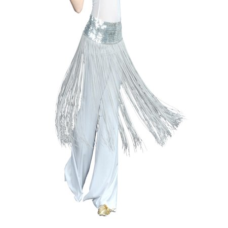 BellyLady Belly Dance Hip scarf, Sequined Fringe Skirt Wrap, Christmas - Dance Scarves