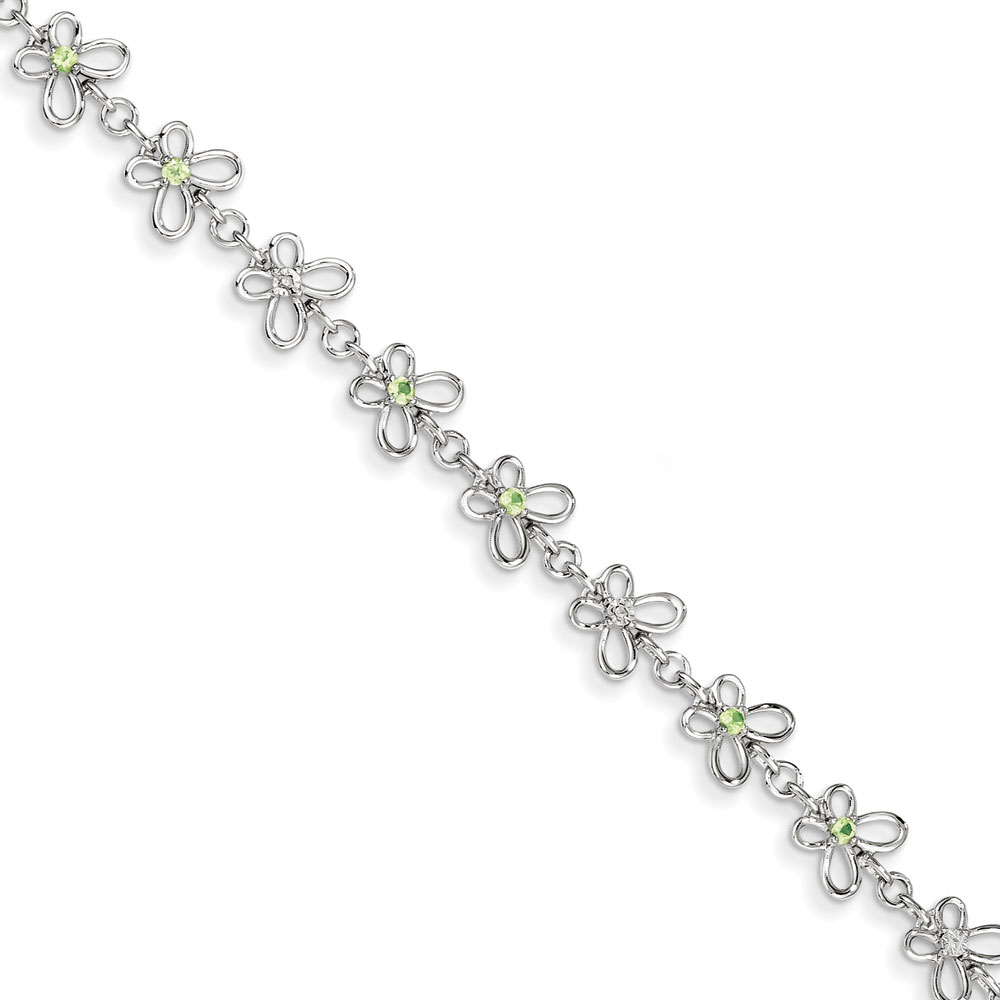 Sterling Silver Peridot and Diamond Bracelet .007 dwt .36 cwt by