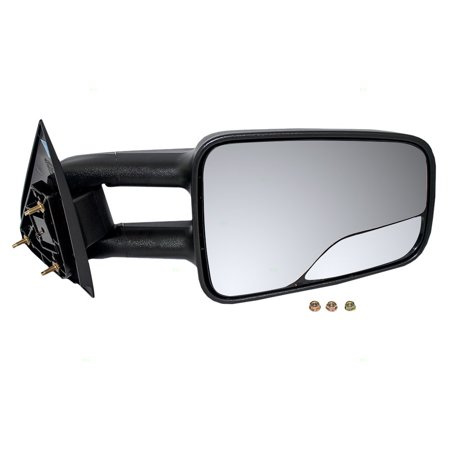 Passengers Manual Telescopic Tow Side Mirror with Spotter Glass Replacement for Chevrolet Cadillac GMC SUV Pickup Truck 15172059