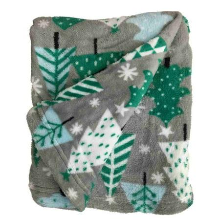 Holiday Home Gray & Green Tree Super Soft Microplush Fleece Throw Blanket ()
