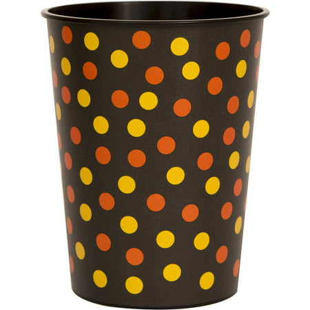 16oz Halloween Orange and Black Polka Dot Plastic Stadium Cups, 4ct