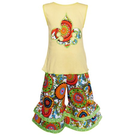 AnnLoren Girls Spring Yellow Fleur De Lis Floral Tank & Capris Clothing - Girls Spring Clothing
