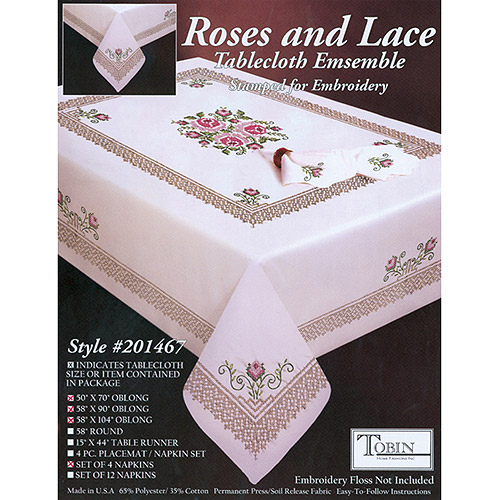 Tobin Roses & Lace Stamped Oblong Table Cloth For Embroidery