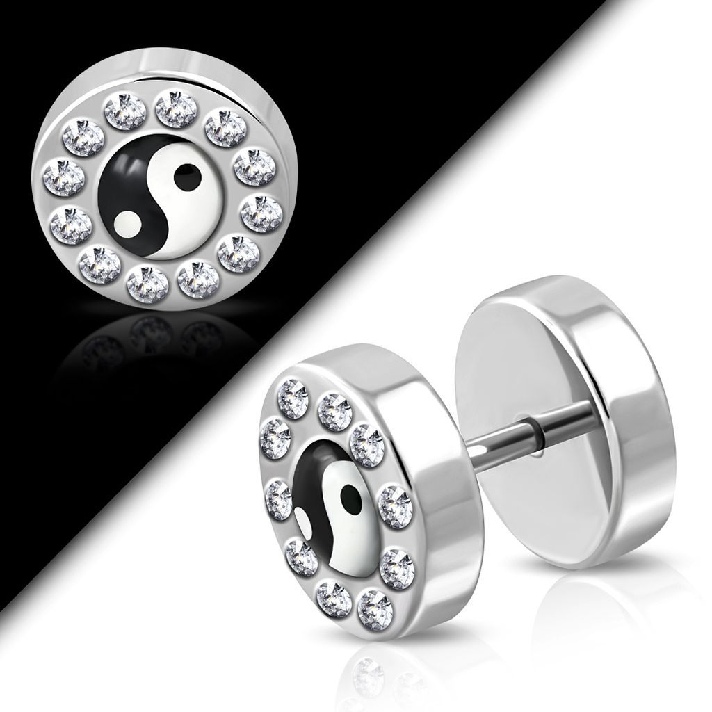 Stainless Steel Yin Yang Tao Symbol Faux Fake Ear Plug with Clear CZ pair