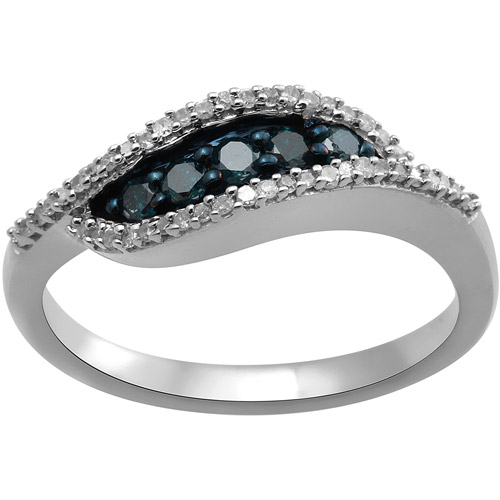 1/4 Carat T.W. Blue and White Diamond Sterling Silver Fashion Ring