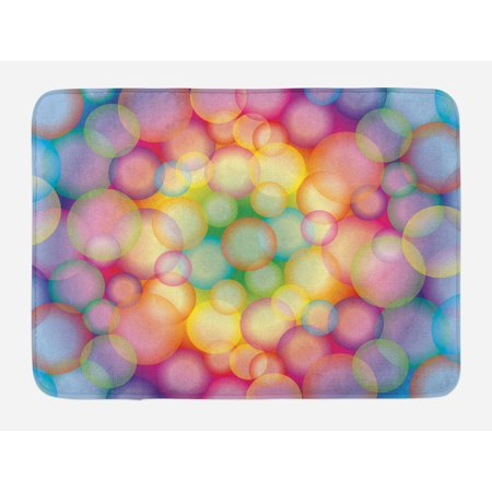 Modern Bath Mat, Colorful Hazy Balls Circular Hoops Bubbles Vibrant Rainbow Style Dreamy Art Print, Non-Slip Plush Mat Bathroom Kitchen Laundry Room Decor, 29.5 X 17.5 Inches, Multicolor, Ambesonne