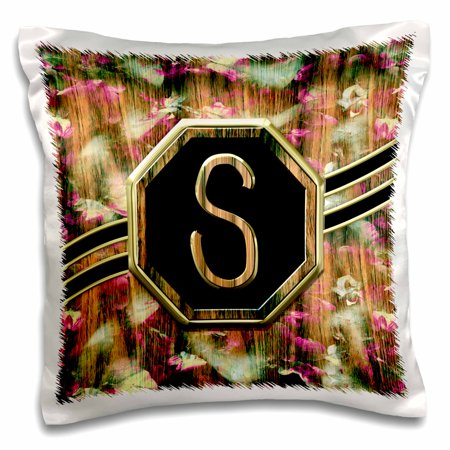 3dRose Elegant Pink Camouflage Monogram Letter S Faux Gold Wood Grain Image - Pillow Case, 16 by 16-inch