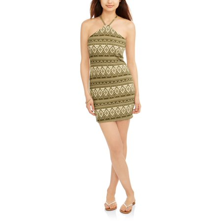 55a80fedf3c Derek Heart - Juniors' Printed Halter Bodycon Dress - Walmart.com