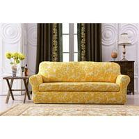 Subrtex 2 Piece Printed Spandex Box Cushion Armchair Sofa Slipcover(Blue Flower, Loveseat)