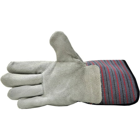 G & F Leather Palm Work Gloves with Extra Long Cuff, (Leather Chore Glove)