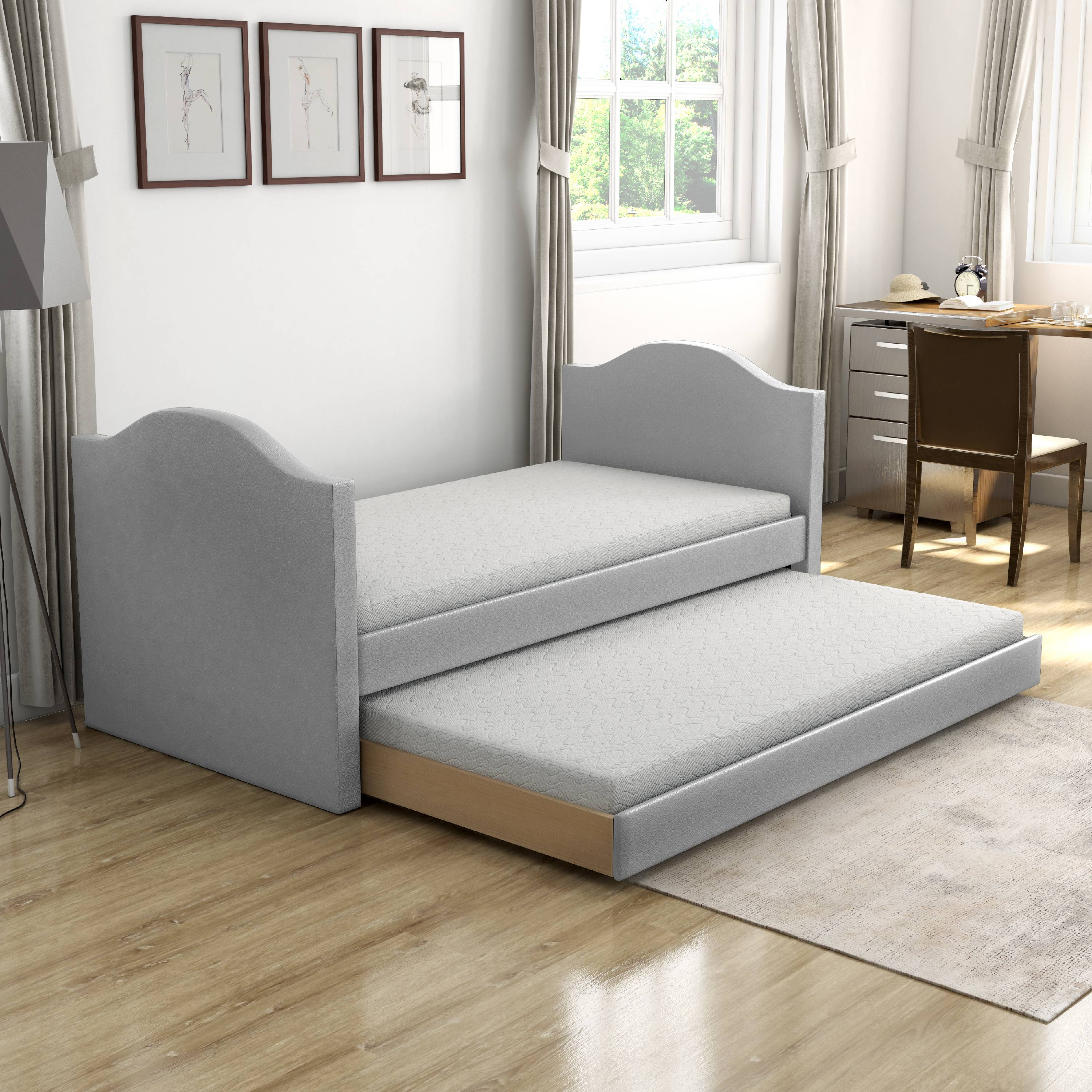 Picture of: Premier Melissa Gray Upholstered Faux Leather Daybed With Trundle Bed Twin Walmart Com Walmart Com