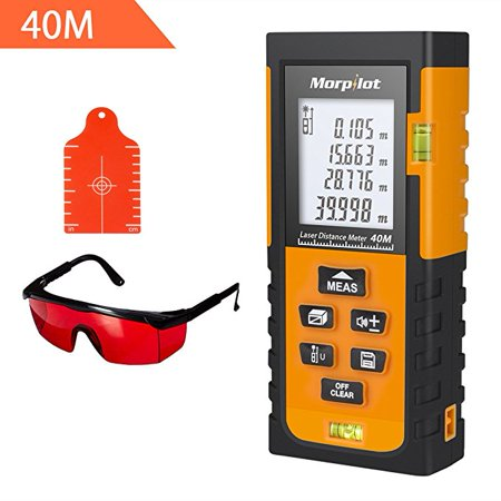 131ft Laser Distance Measurer - Morpilot Laser Tape Measure with Target Plate & Enhancing Glasses, Laser Measuring Tool with Pythagorean Mode, Measure Distance, Area, Volume (Best Laser Tape Measure)