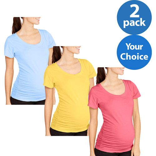 Oh! Mamma Maternity Short Sleeve Tee with Flattering Side Ruching, 2-Pack Value Bundle
