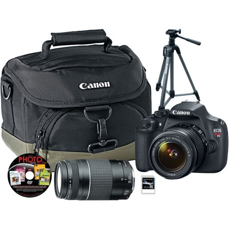 Canon Black EOS Rebel T5 Digital SLR Camera with 18 Megapixels and 18-55mm and 75-300mm Lenses, Deluxe Tripod 300, Custom Gadget Bag and 16GB SDHC Card Included