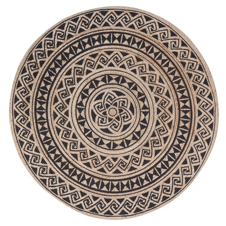 - Round Tribal Swinning Wave Circular Screen Print Rug