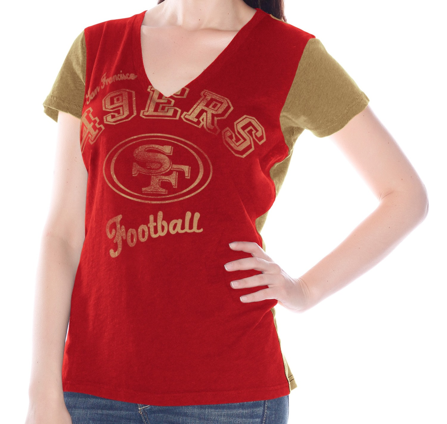 "San Francisco 49ers Women's G-III NFL ""Fair Catch"" V-neck T-shirt"