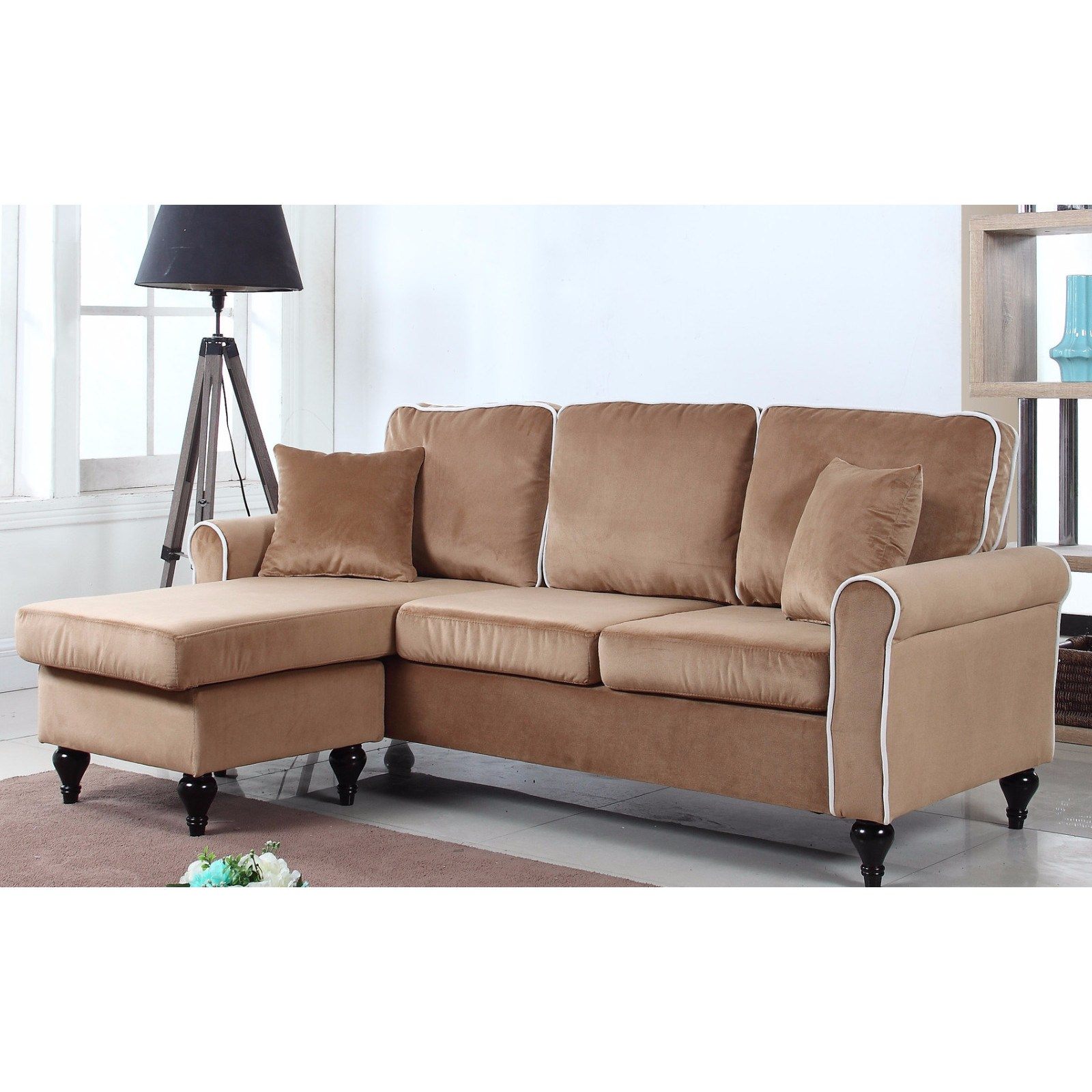 Madison Home Traditional Small Space Velvet Sectional Sofa With Reversible  Chaise