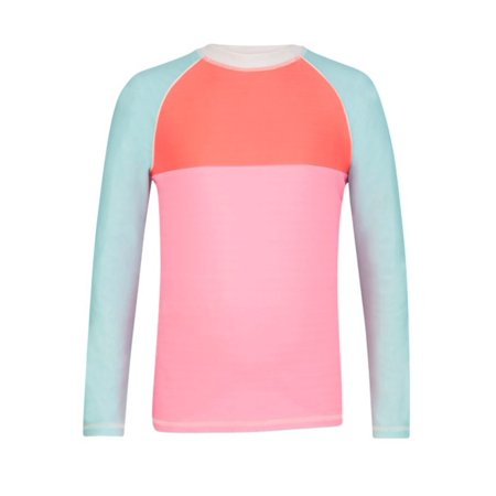 Snapper Rock Girls L/S  Rashguard Pink/Aqua Colorblock