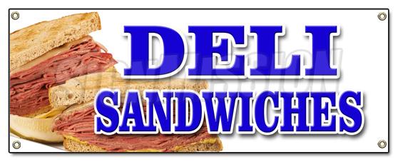 Deli Sandwiches Banner Sign Delicatessen Sub Cornbeef Pastrami Roll Pickels