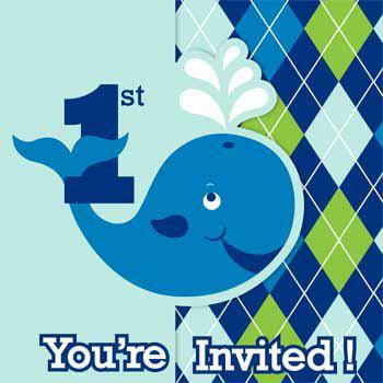1st Birthday 'Ocean Preppy Boy' Invitations w/ Envelopes (8ct)