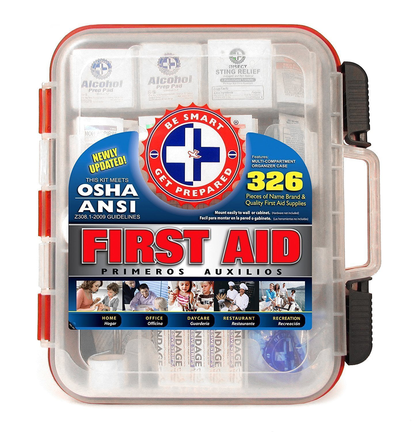First Aid Kit Hard Red Case 326 Pieces Exceeds OSHA and ANSI Guidelines by Be Smart Get Prepared