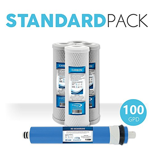 """Express Water Reverse Osmosis RO Replacement Filters Set Universal Standard 10"""" Coconut Shell Carbon 100 GPD Membrane"""