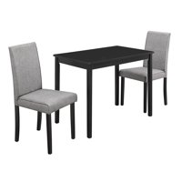 Monarch Specialties 3-Piece Dining Set, Black, Gray Linen Parson Chairs