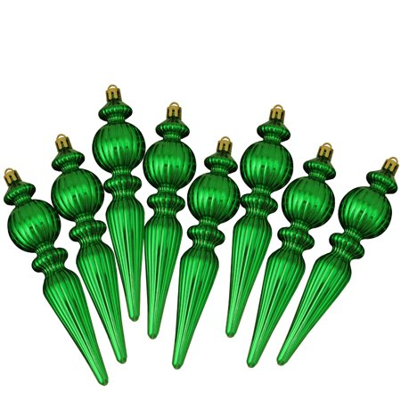 8ct Xmas Green Shatterproof Shiny Ribbed Christmas Finial Ornaments 6.5""