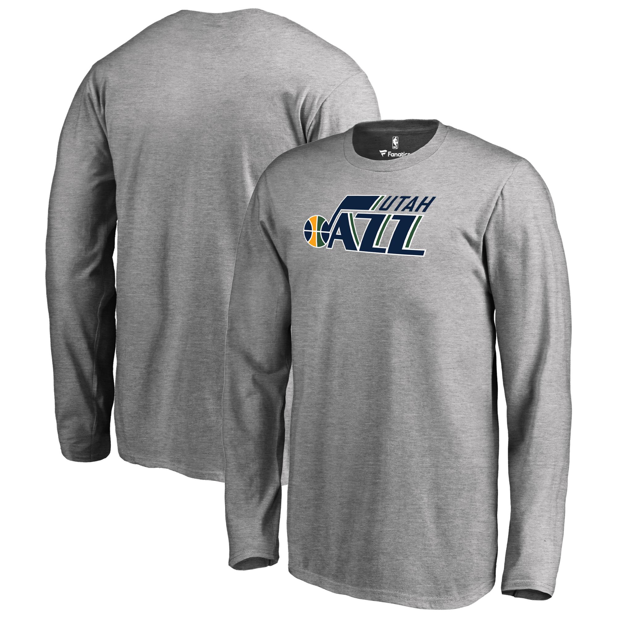 Utah Jazz Fanatics Branded Youth Primary Logo Long Sleeve T-Shirt - Heathered Gray