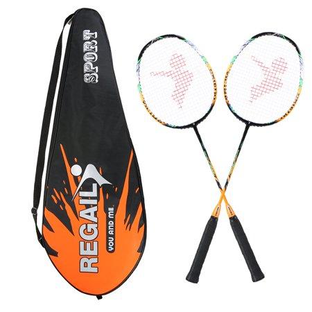 2 Player Badminton Bat Replacement Set Ultra Light Carbon Fiber Badminton Racquet with