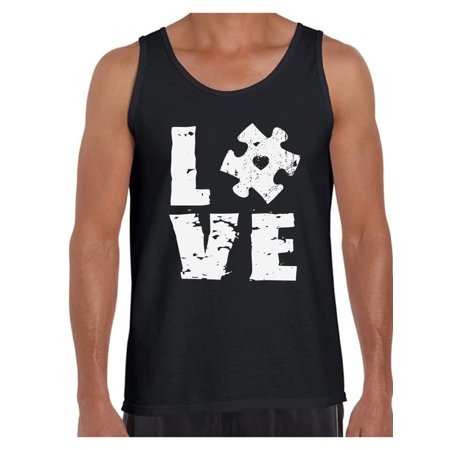 Awkward Styles Love Puzzle Tank Tops for Men Autism Awareness Tank Top Autism Tanks Autism Puzzle Gifts Support Autism Awareness Men's Tank Tops Autistic Spectrum Awareness Tanks for Men