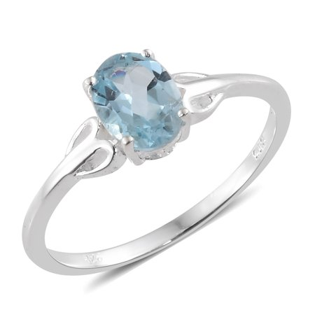 925 Sterling Silver Sky Blue Topaz Solitaire Ring Jewelry Gift