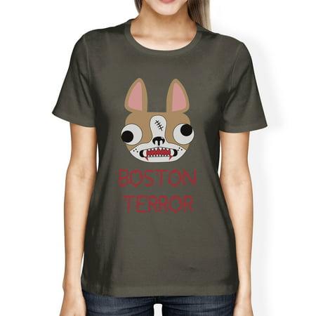 Boston Terror Terrier Womens Halloween Tshirt Dark Grey Cotton Tee