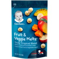 Gerber Fruit & Veggie Melts Freeze-Dried Fruit and Vegetable Snacks, Truly Tropical Blend, 1 oz.