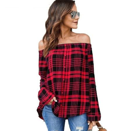 Freshlook Spring New Arrival Ladies Fashion Tops Women Casual Long Sleeve Sexy Off Shoulder T Shirt Walmart Com Walmart Com