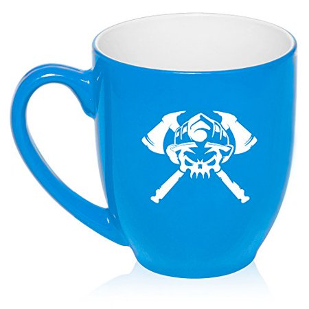 16 oz Large Bistro Mug Ceramic Coffee Tea Glass Cup Firefighter Skull (Light Blue)