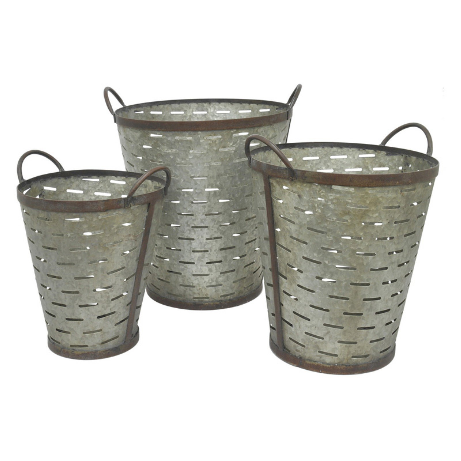 Three Hands 3 Piece Galvanized Metal Bucket Planter Set