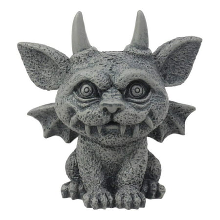 "Ebros Gothic Horned Bat Cat Gargoyle Bast Figurine Small Mythical Fantasy Decor Statue 3.25""Tall As Talisman Of Protection Fairy Garden Accessory DIY Renaissance Or Medieval Collectible"